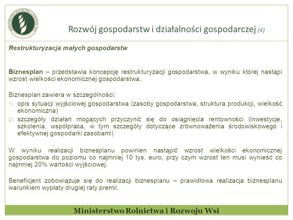 Rozwój gospodarstw i działalności gospodarczej (4) Ministerstwo Rolnictwa i Rozwoju Wsi Restrukturyzacja małych gospodarstw Biznesplan – przedstawia k