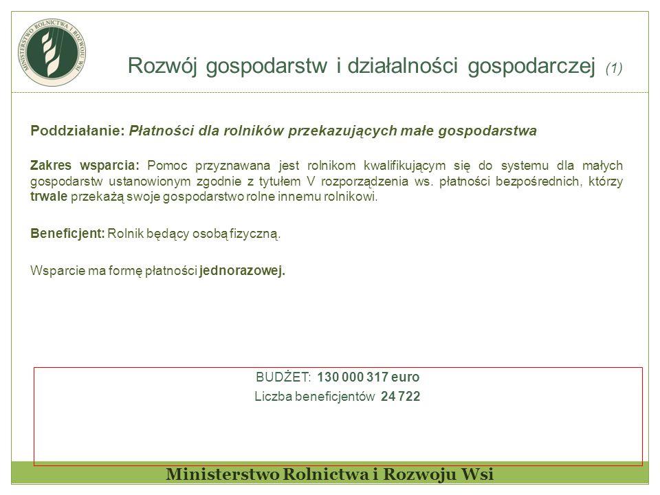Rozwój gospodarstw i działalności gospodarczej (1) Ministerstwo Rolnictwa i Rozwoju Wsi Poddziałanie: Płatności dla rolników przekazujących małe gospo