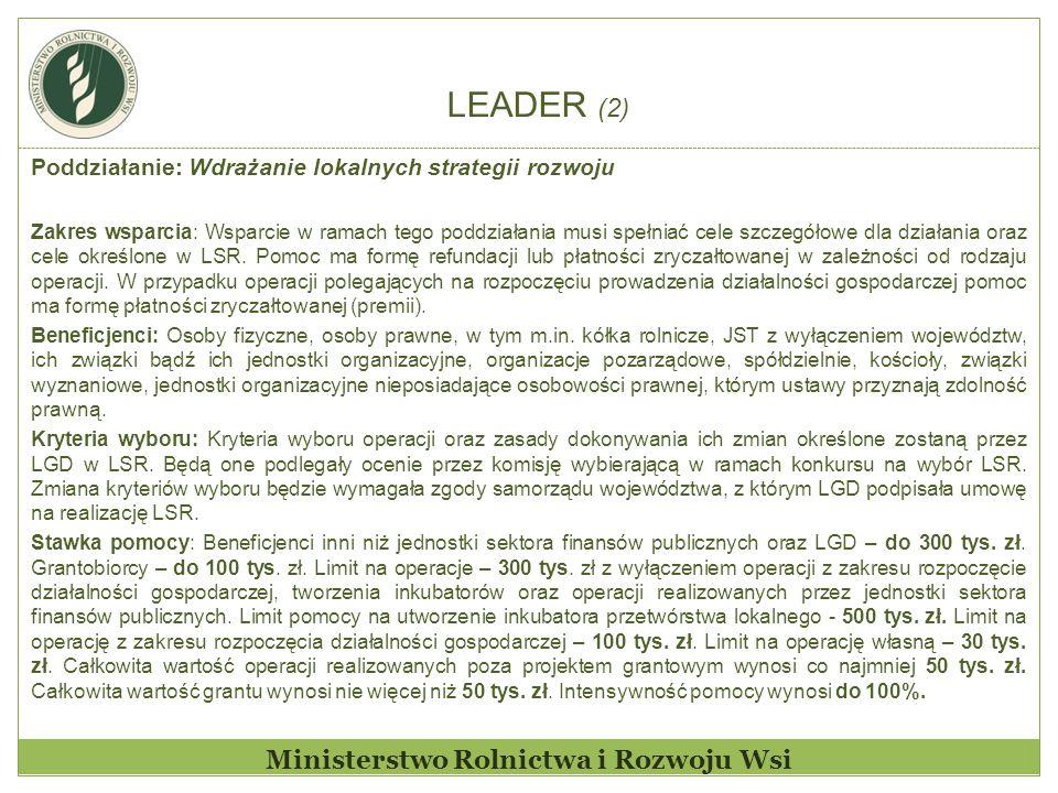 LEADER (2) Ministerstwo Rolnictwa i Rozwoju Wsi Poddziałanie: Wdrażanie lokalnych strategii rozwoju Zakres wsparcia: Wsparcie w ramach tego poddziałan
