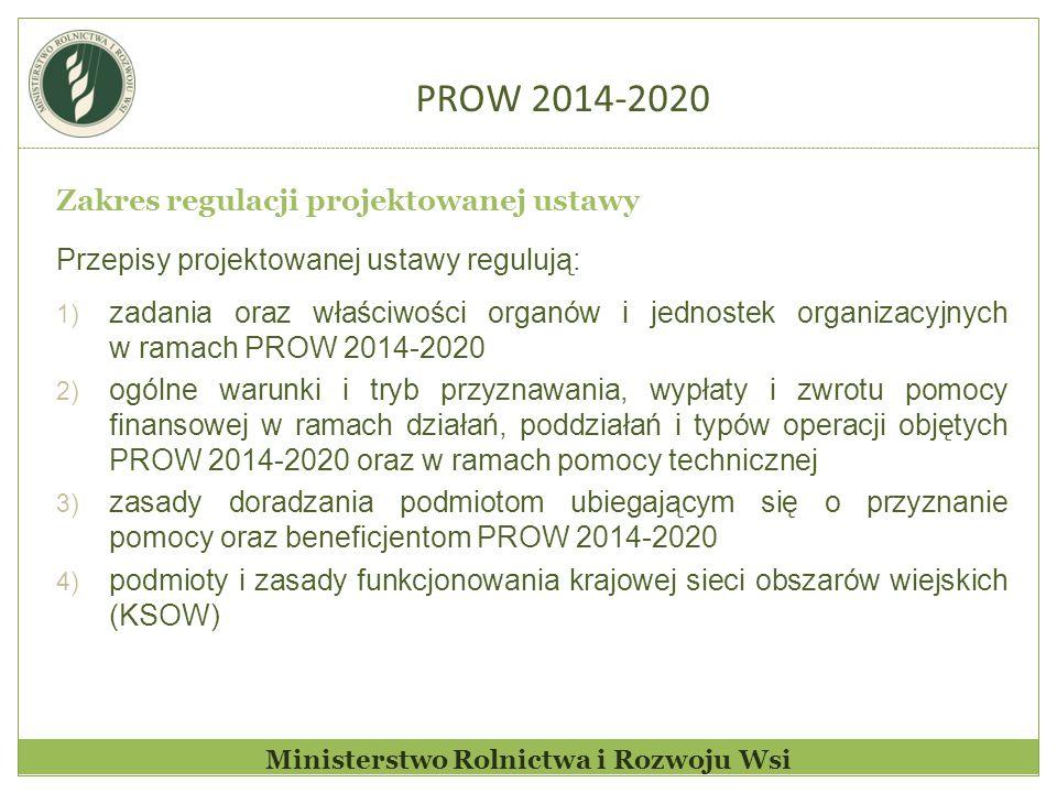 Ministerstwo Rolnictwa i Rozwoju Wsi Zakres regulacji projektowanej ustawy Przepisy projektowanej ustawy regulują: 1) zadania oraz właściwości organów