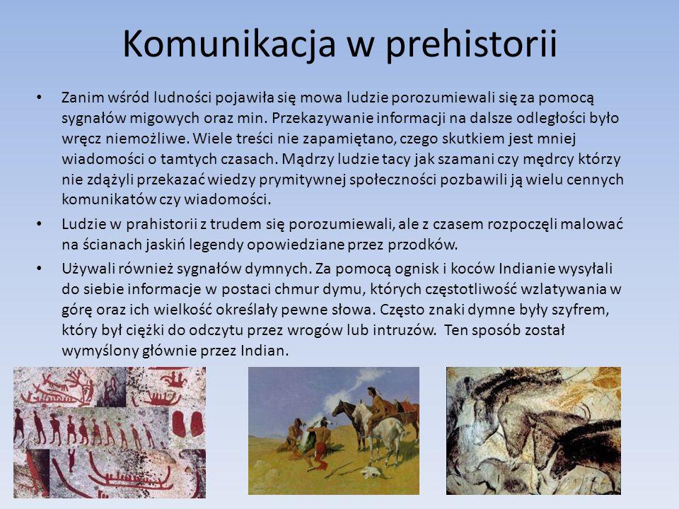 Komunikacja w prehistorii Zanim wśród ludności pojawiła się mowa ludzie porozumiewali się za pomocą sygnałów migowych oraz min. Przekazywanie informac