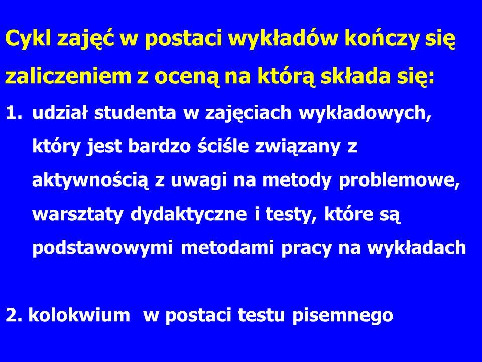 Cykl zajęć w postaci wykładów kończy się zaliczeniem z oceną na którą składa się: 1.udział studenta w zajęciach wykładowych, który jest bardzo ściśle