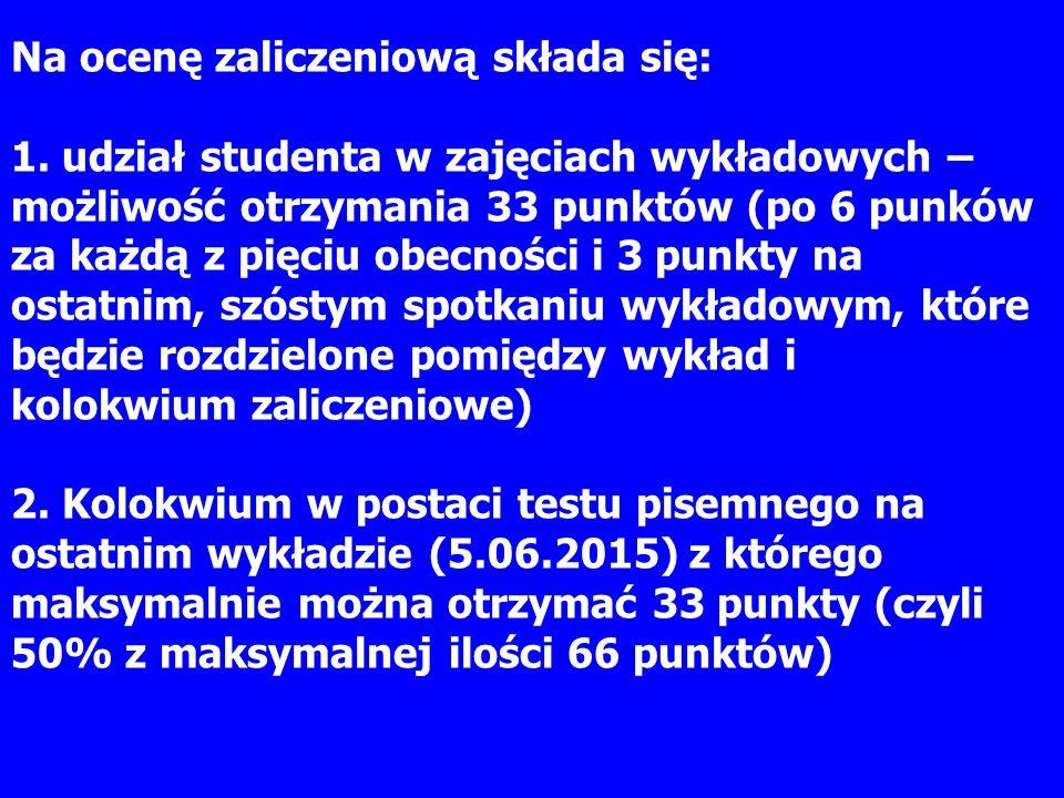 Na ocenę zaliczeniową składa się: 1. udział studenta w zajęciach wykładowych – możliwość otrzymania 33 punktów (po 6 punków za każdą z pięciu obecnośc
