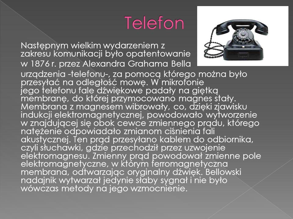 Następnym wielkim wydarzeniem z zakresu komunikacji było opatentowanie w 1876 r. przez Alexandra Grahama Bella urządzenia -telefonu-, za pomocą któreg