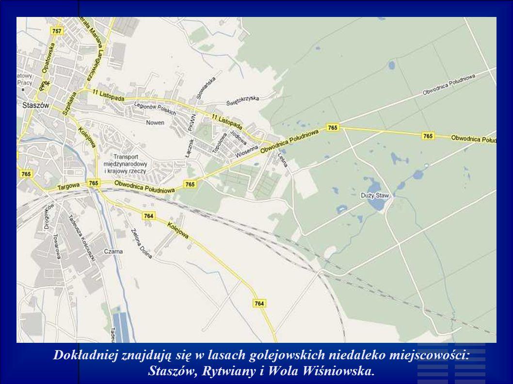Dokładniej znajdują się w lasach golejowskich niedaleko miejscowości: Staszów, Rytwiany i Wola Wiśniowska.