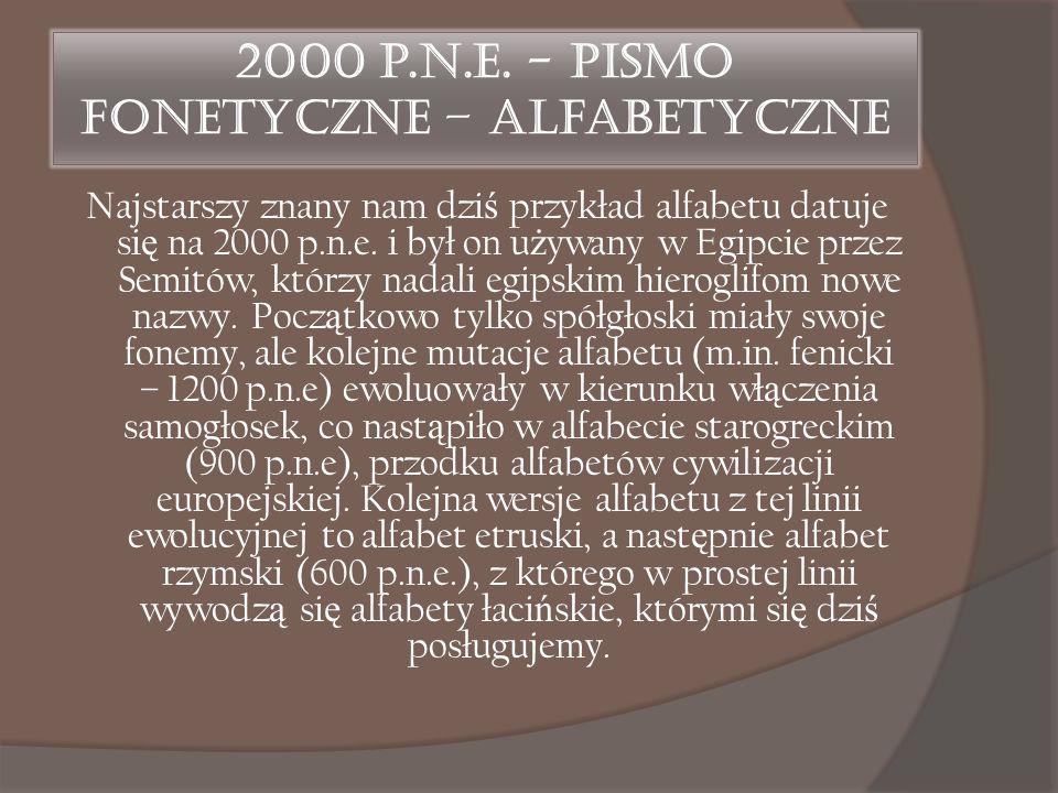 2000 p.n.e. - Pismo fonetyczne – alfabetyczne Najstarszy znany nam dzi ś przykład alfabetu datuje si ę na 2000 p.n.e. i był on u ż ywany w Egipcie prz