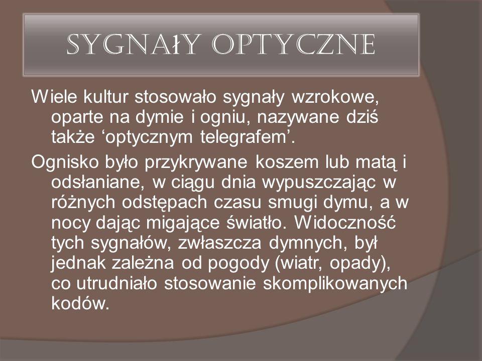 Sygna ł y optyczne Wiele kultur stosowało sygnały wzrokowe, oparte na dymie i ogniu, nazywane dziś także 'optycznym telegrafem'. Ognisko było przykryw