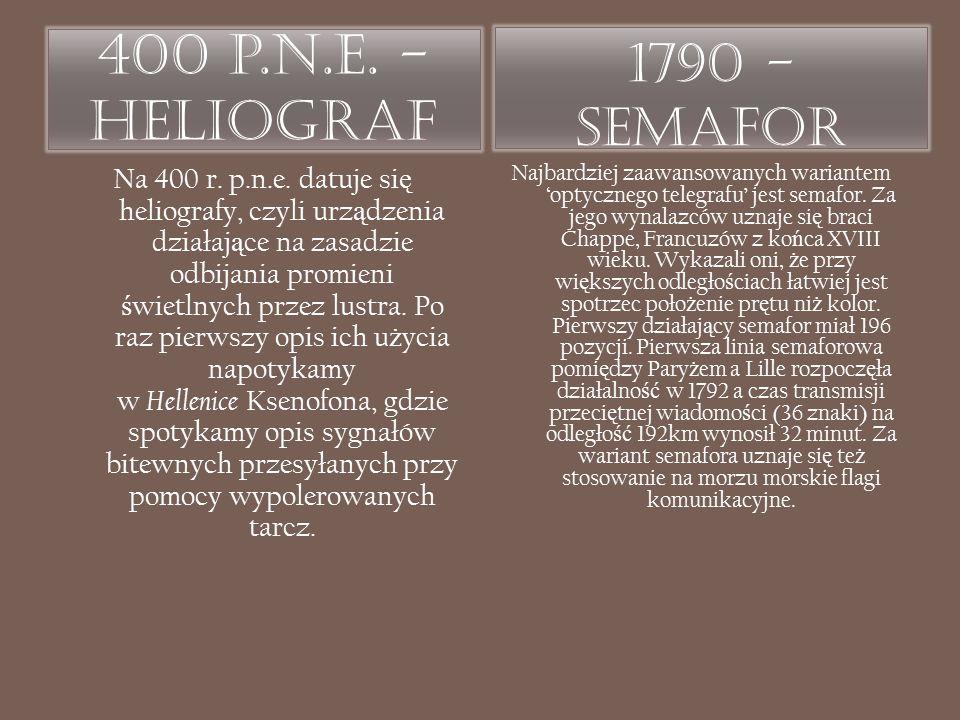 400 p.n.e. - Heliograf 1790 - Semafor Na 400 r. p.n.e. datuje si ę heliografy, czyli urz ą dzenia działaj ą ce na zasadzie odbijania promieni ś wietln