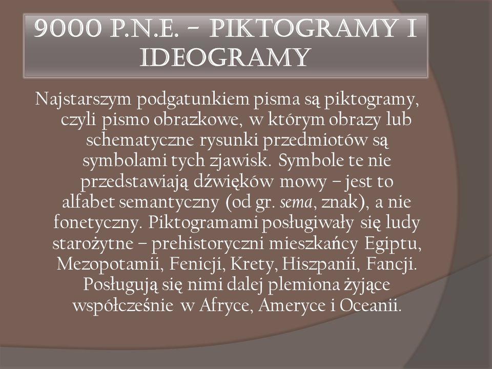 9000 p.n.e. - Piktogramy i ideogramy Najstarszym podgatunkiem pisma s ą piktogramy, czyli pismo obrazkowe, w którym obrazy lub schematyczne rysunki pr
