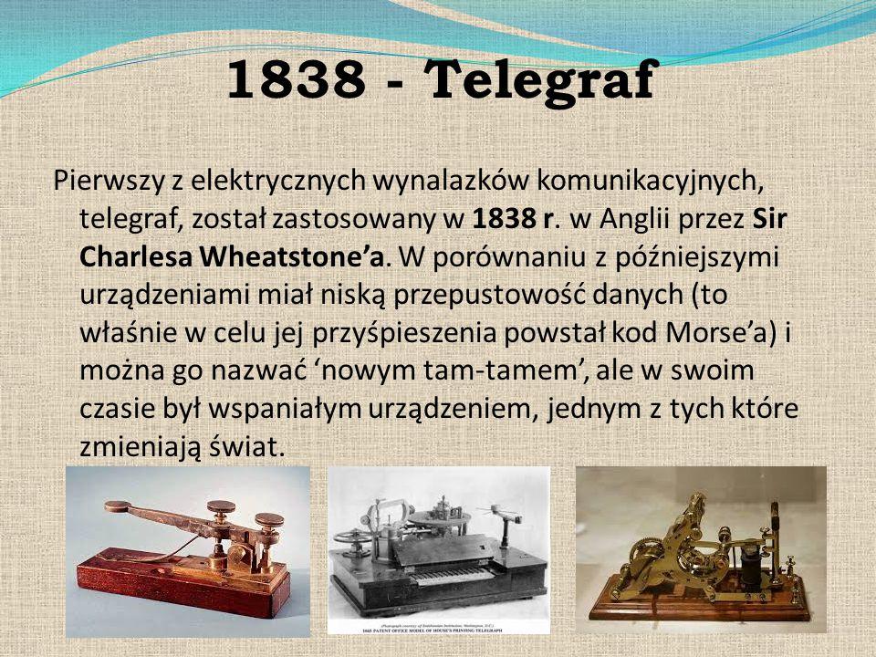 1838 - Telegraf Pierwszy z elektrycznych wynalazków komunikacyjnych, telegraf, został zastosowany w 1838 r. w Anglii przez Sir Charlesa Wheatstone'a.