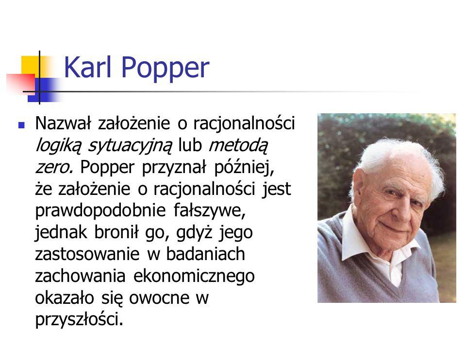 Karl Popper Nazwał założenie o racjonalności logiką sytuacyjną lub metodą zero.
