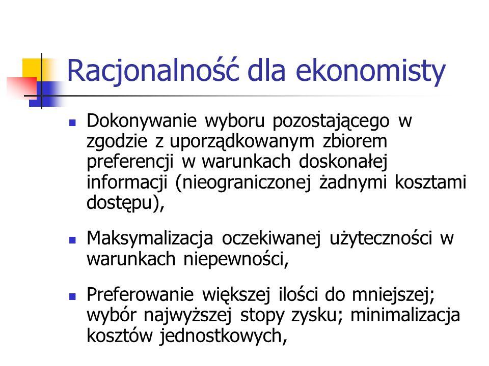 Racjonalność dla ekonomisty Dokonywanie wyboru pozostającego w zgodzie z uporządkowanym zbiorem preferencji w warunkach doskonałej informacji (nieograniczonej żadnymi kosztami dostępu), Maksymalizacja oczekiwanej użyteczności w warunkach niepewności, Preferowanie większej ilości do mniejszej; wybór najwyższej stopy zysku; minimalizacja kosztów jednostkowych,