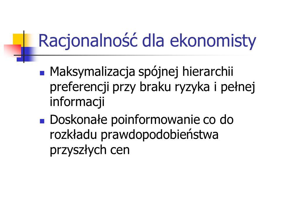 Racjonalność dla ekonomisty Maksymalizacja spójnej hierarchii preferencji przy braku ryzyka i pełnej informacji Doskonałe poinformowanie co do rozkładu prawdopodobieństwa przyszłych cen