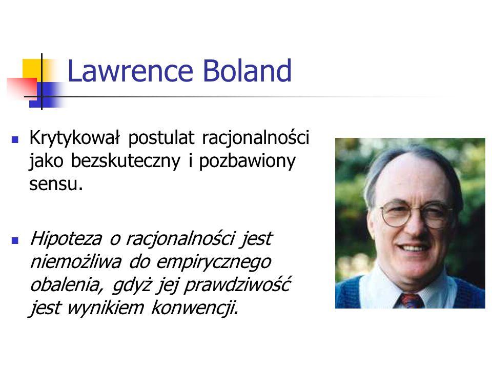 Lawrence Boland Krytykował postulat racjonalności jako bezskuteczny i pozbawiony sensu.