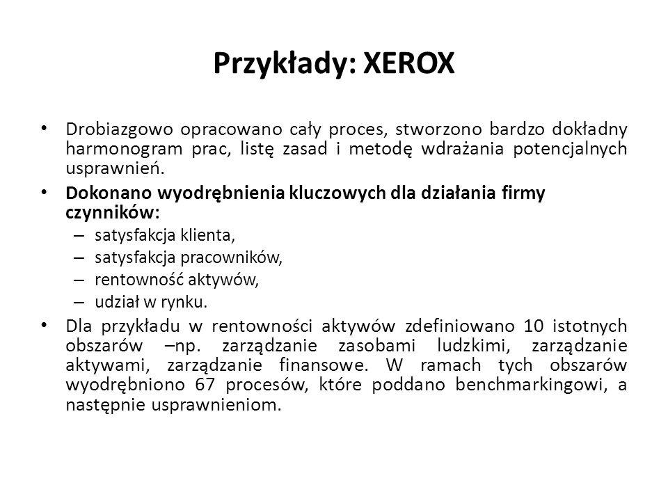 Przykłady: XEROX Drobiazgowo opracowano cały proces, stworzono bardzo dokładny harmonogram prac, listę zasad i metodę wdrażania potencjalnych usprawni