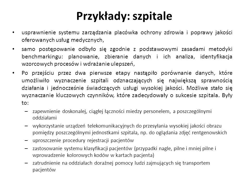 Przykłady: szpitale usprawnienie systemu zarządzania placówka ochrony zdrowia i poprawy jakości oferowanych usług medycznych, samo postępowanie odbyło