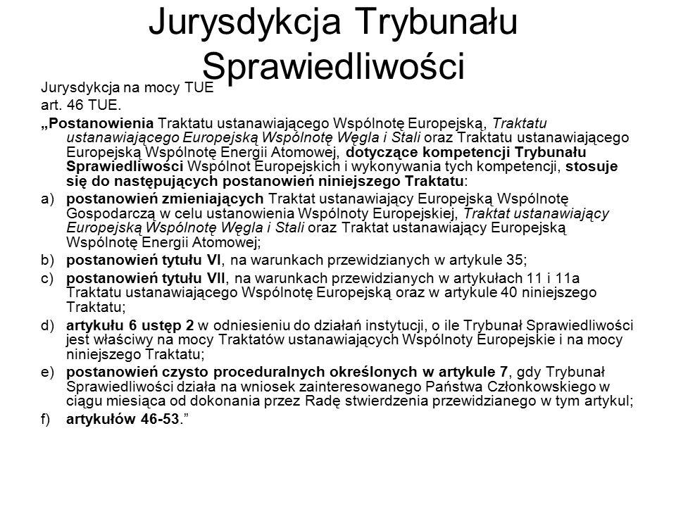 Jurysdykcja Trybunału Sprawiedliwości Jurysdykcja na mocy TUE art.