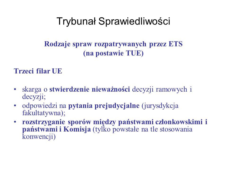 Trybunał Sprawiedliwości Rodzaje spraw rozpatrywanych przez ETS (na postawie TUE) Trzeci filar UE skarga o stwierdzenie nieważności decyzji ramowych i decyzji; odpowiedzi na pytania prejudycjalne (jurysdykcja fakultatywna); rozstrzyganie sporów między państwami członkowskimi i państwami i Komisja (tylko powstałe na tle stosowania konwencji)