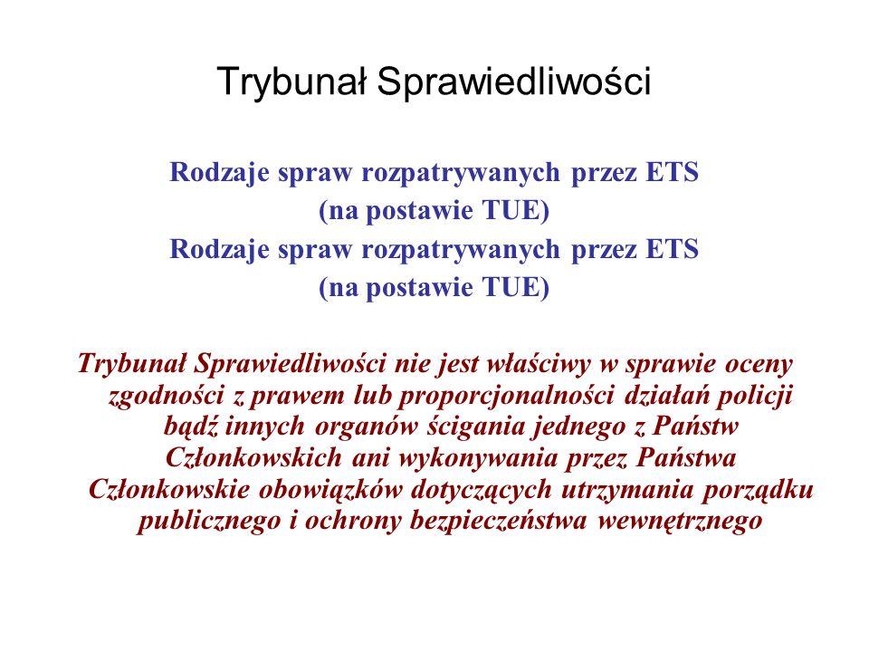 Trybunał Sprawiedliwości Rodzaje spraw rozpatrywanych przez ETS (na postawie TUE) Rodzaje spraw rozpatrywanych przez ETS (na postawie TUE) Trybunał Sprawiedliwości nie jest właściwy w sprawie oceny zgodności z prawem lub proporcjonalności działań policji bądź innych organów ścigania jednego z Państw Członkowskich ani wykonywania przez Państwa Członkowskie obowiązków dotyczących utrzymania porządku publicznego i ochrony bezpieczeństwa wewnętrznego