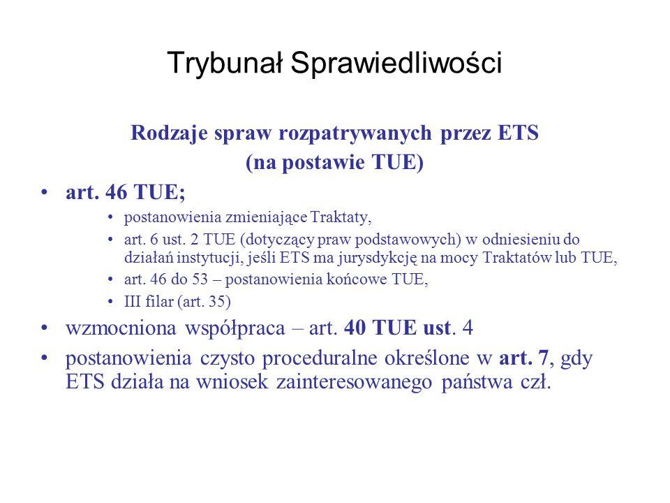 Trybunał Sprawiedliwości Rodzaje spraw rozpatrywanych przez ETS (na postawie TUE) art.
