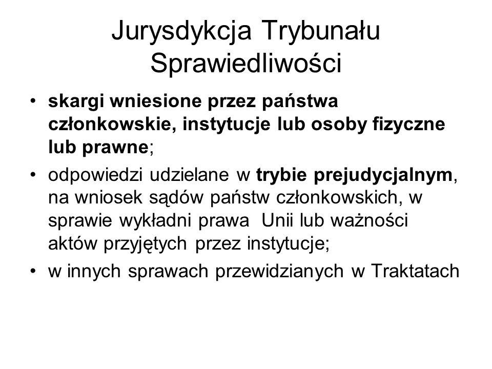 Jurysdykcja Trybunału Sprawiedliwości skargi wniesione przez państwa członkowskie, instytucje lub osoby fizyczne lub prawne; odpowiedzi udzielane w trybie prejudycjalnym, na wniosek sądów państw członkowskich, w sprawie wykładni prawa Unii lub ważności aktów przyjętych przez instytucje; w innych sprawach przewidzianych w Traktatach