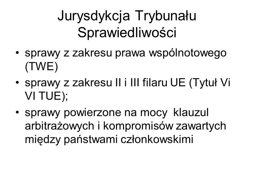 Jurysdykcja Trybunału Sprawiedliwości sprawy z zakresu prawa wspólnotowego (TWE) sprawy z zakresu II i III filaru UE (Tytuł Vi VI TUE); sprawy powierzone na mocy klauzul arbitrażowych i kompromisów zawartych między państwami członkowskimi
