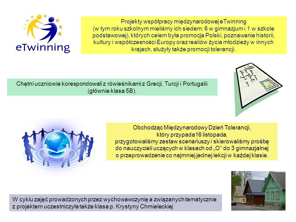 Projekty współpracy międzynarodowej eTwinning (w tym roku szkolnym mieliśmy ich siedem: 6 w gimnazjum i 1 w szkole podstawowej), których celem była pr