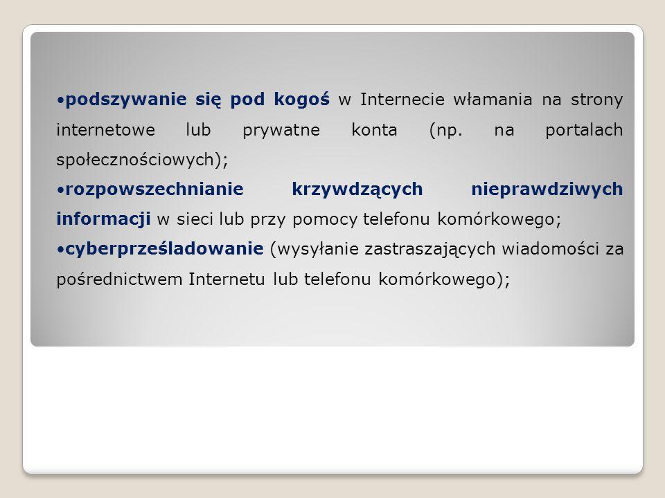 podszywanie się pod kogoś w Internecie włamania na strony internetowe lub prywatne konta (np. na portalach społecznościowych); rozpowszechnianie krzyw