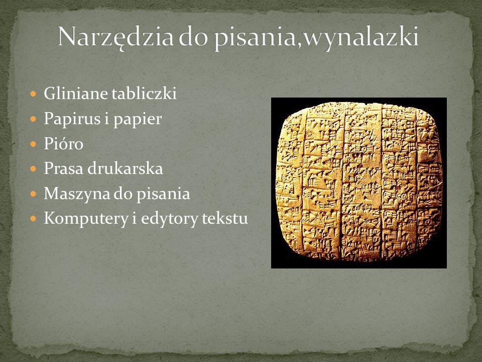 Gliniane tabliczki Papirus i papier Pióro Prasa drukarska Maszyna do pisania Komputery i edytory tekstu