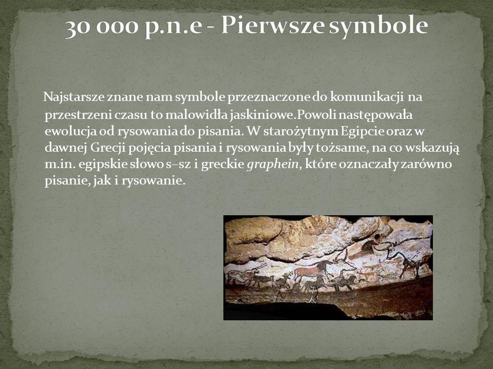 Najstarsze znane nam symbole przeznaczone do komunikacji na przestrzeni czasu to malowidła jaskiniowe.Powoli następowała ewolucja od rysowania do pisa