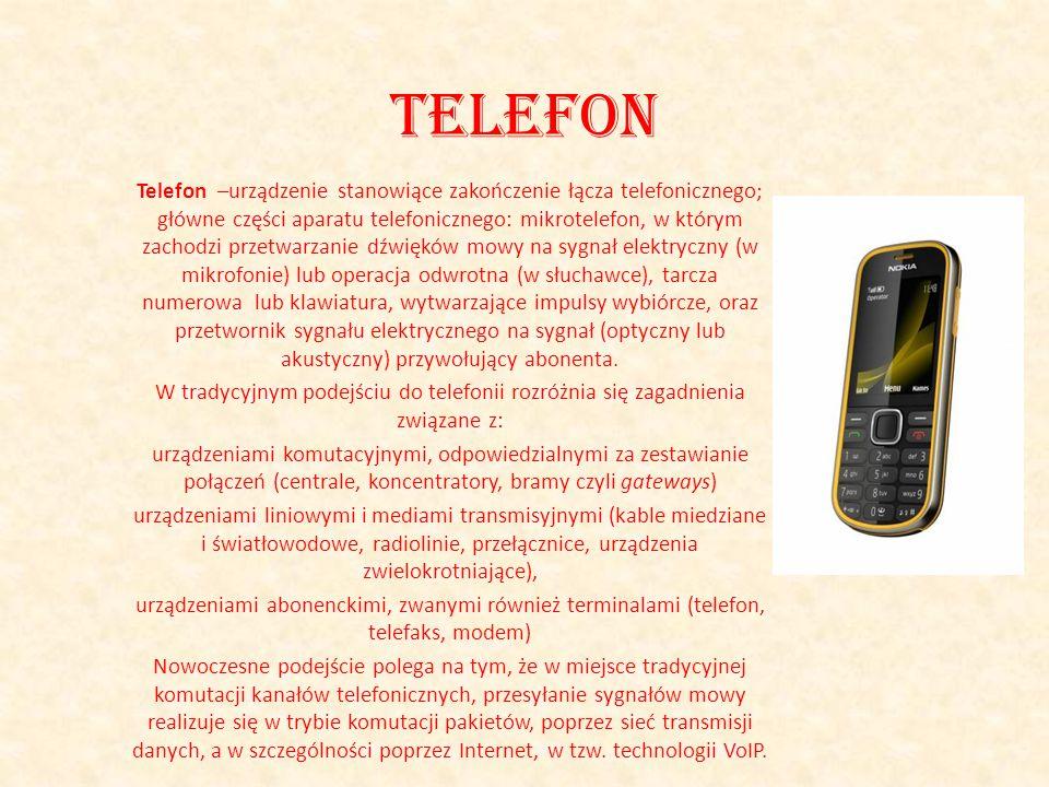 Telefon Telefon –urządzenie stanowiące zakończenie łącza telefonicznego; główne części aparatu telefonicznego: mikrotelefon, w którym zachodzi przetwa