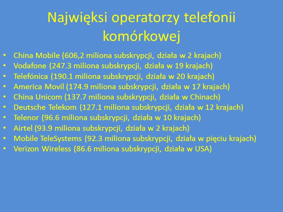 Najwięksi operatorzy telefonii komórkowej China Mobile (606,2 miliona subskrypcji, działa w 2 krajach) Vodafone (247.3 miliona subskrypcji, działa w 1