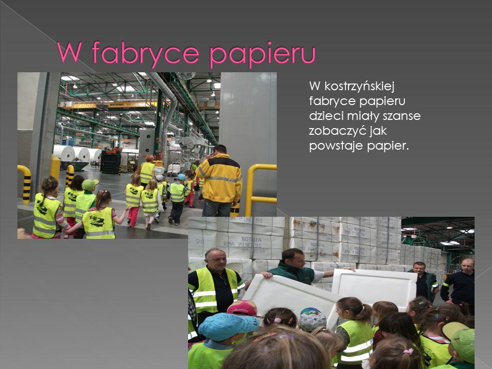 W kostrzyńskiej fabryce papieru dzieci miały szanse zobaczyć jak powstaje papier.