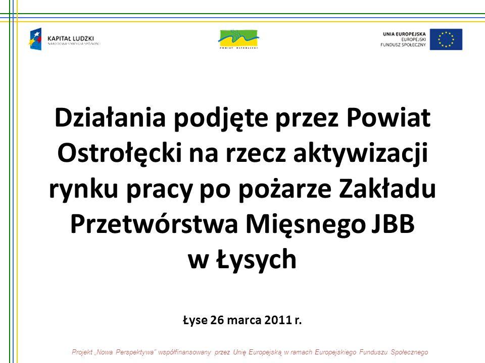 Działania podjęte przez Powiat Ostrołęcki na rzecz aktywizacji rynku pracy po pożarze Zakładu Przetwórstwa Mięsnego JBB w Łysych Łyse 26 marca 2011 r.