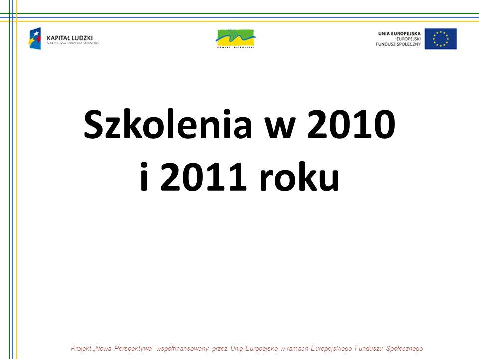 """Szkolenia w 2010 i 2011 roku Projekt """"Nowa Perspektywa"""" współfinansowany przez Unię Europejską w ramach Europejskiego Funduszu Społecznego"""
