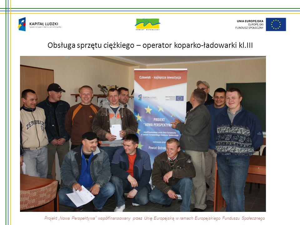 """Obsługa sprzętu ciężkiego – operator koparko-ładowarki kl.III Projekt """"Nowa Perspektywa"""" współfinansowany przez Unię Europejską w ramach Europejskiego"""