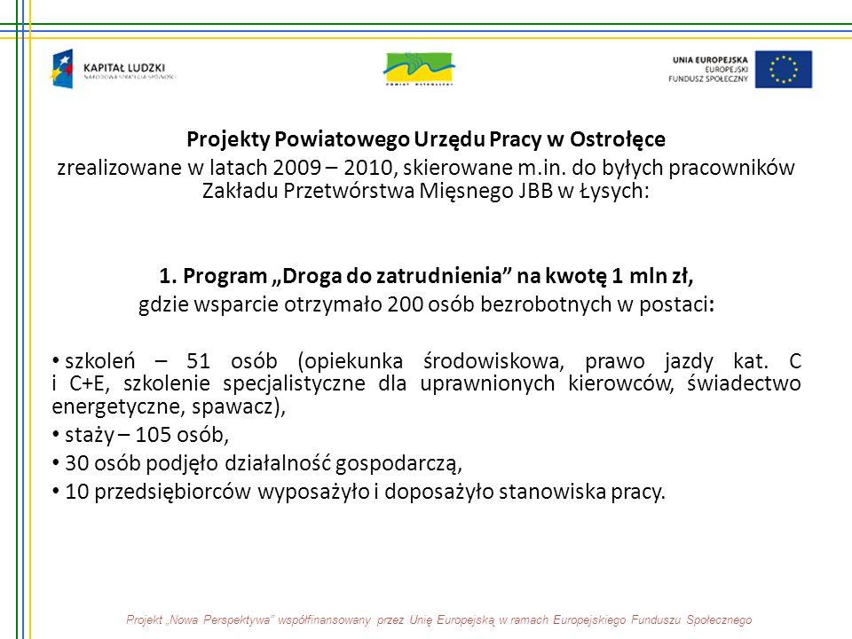 Projekty Powiatowego Urzędu Pracy w Ostrołęce zrealizowane w latach 2009 – 2010, skierowane m.in. do byłych pracowników Zakładu Przetwórstwa Mięsnego