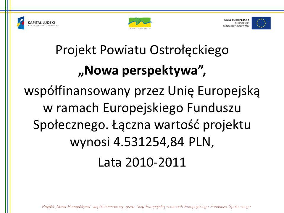 """Projekt Powiatu Ostrołęckiego """"Nowa perspektywa"""", współfinansowany przez Unię Europejską w ramach Europejskiego Funduszu Społecznego. Łączna wartość p"""