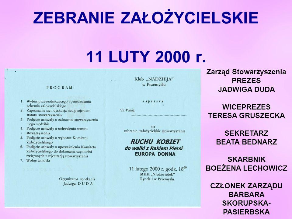 ZEBRANIE ZAŁOŻYCIELSKIE 11 LUTY 2000 r.