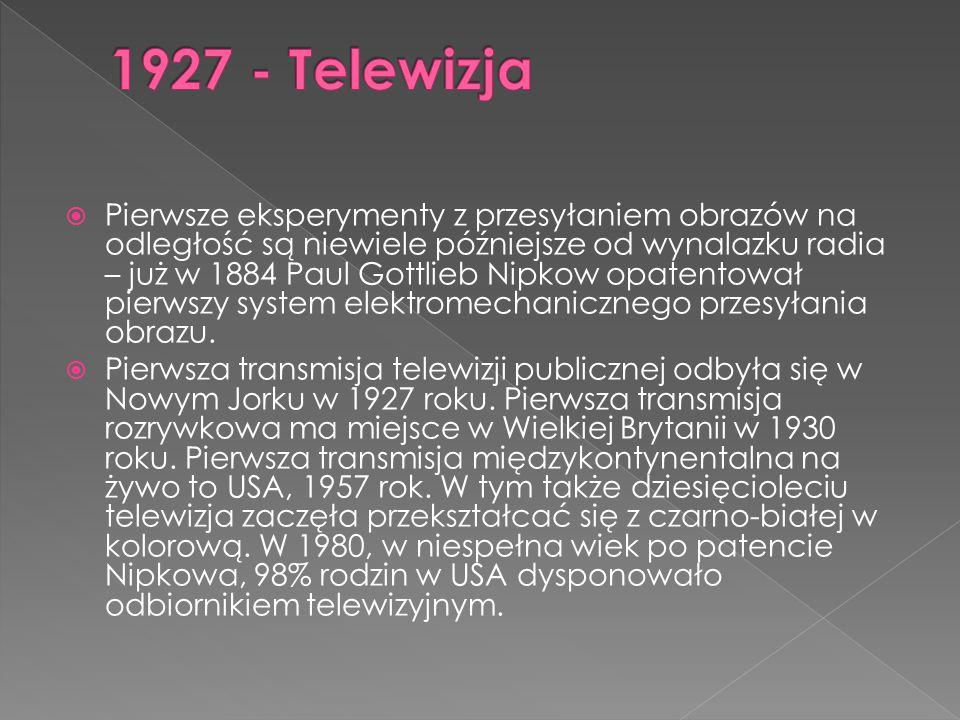  Pierwsze eksperymenty z przesyłaniem obrazów na odległość są niewiele późniejsze od wynalazku radia – już w 1884 Paul Gottlieb Nipkow opatentował pierwszy system elektromechanicznego przesyłania obrazu.