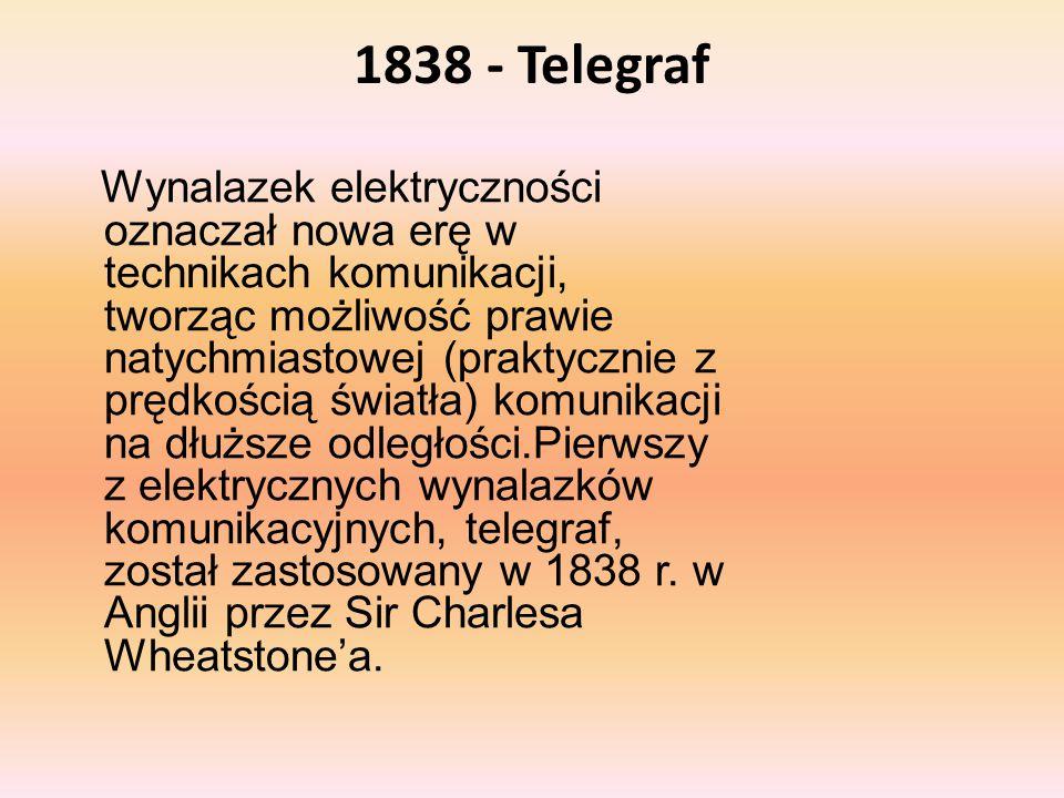 1838 - Telegraf Wynalazek elektryczności oznaczał nowa erę w technikach komunikacji, tworząc możliwość prawie natychmiastowej (praktycznie z prędkości