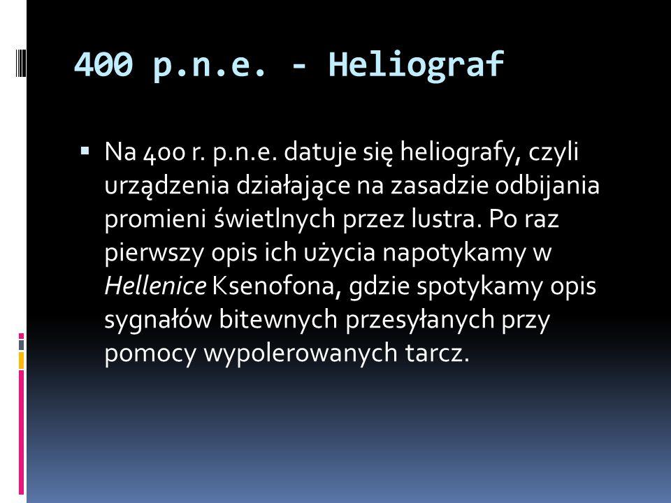 400 p.n.e. - Heliograf  Na 400 r. p.n.e. datuje się heliografy, czyli urządzenia działające na zasadzie odbijania promieni świetlnych przez lustra. P