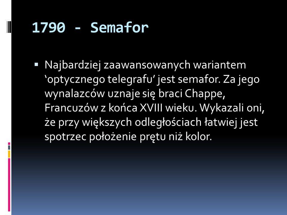 1790 - Semafor  Najbardziej zaawansowanych wariantem 'optycznego telegrafu' jest semafor. Za jego wynalazców uznaje się braci Chappe, Francuzów z koń