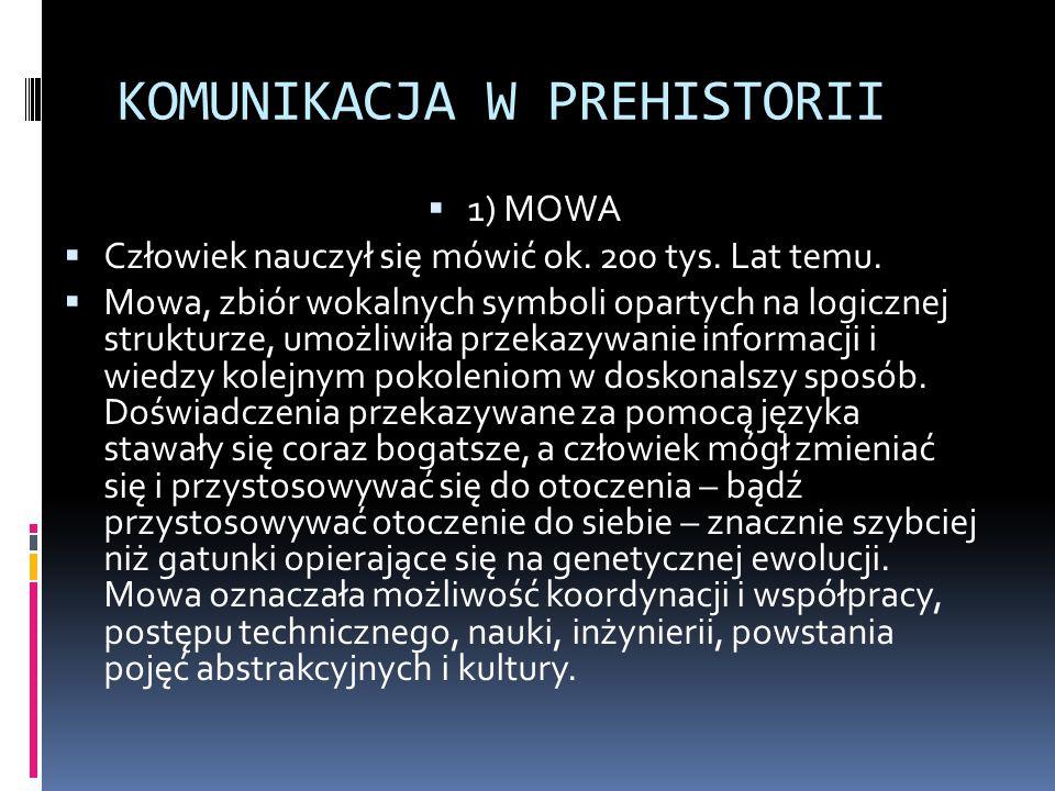 KOMUNIKACJA W PREHISTORII  1) MOWA  Człowiek nauczył się mówić ok. 200 tys. Lat temu.  Mowa, zbiór wokalnych symboli opartych na logicznej struktur
