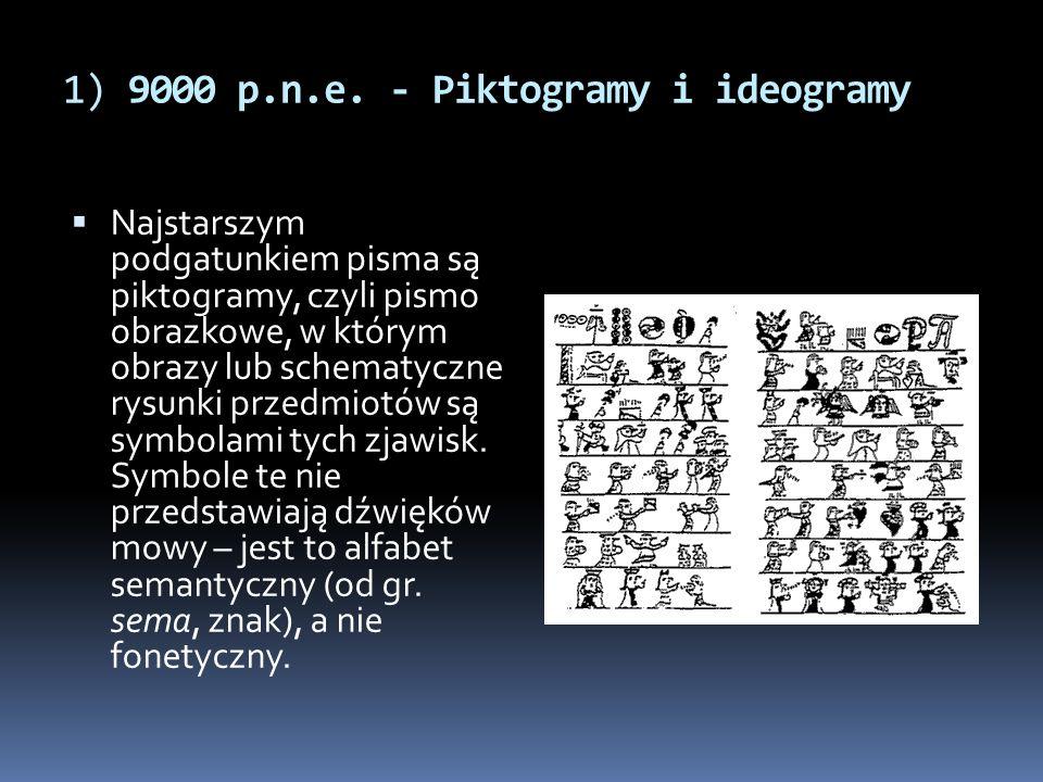 1) 9000 p.n.e. - Piktogramy i ideogramy  Najstarszym podgatunkiem pisma są piktogramy, czyli pismo obrazkowe, w którym obrazy lub schematyczne rysunk