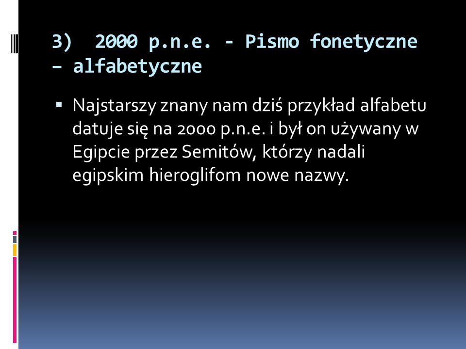 3) 2000 p.n.e. - Pismo fonetyczne – alfabetyczne  Najstarszy znany nam dziś przykład alfabetu datuje się na 2000 p.n.e. i był on używany w Egipcie pr