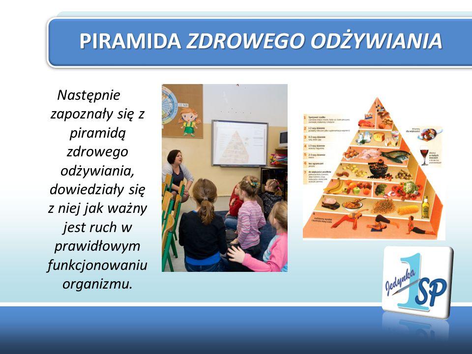 Następnie zapoznały się z piramidą zdrowego odżywiania, dowiedziały się z niej jak ważny jest ruch w prawidłowym funkcjonowaniu organizmu.