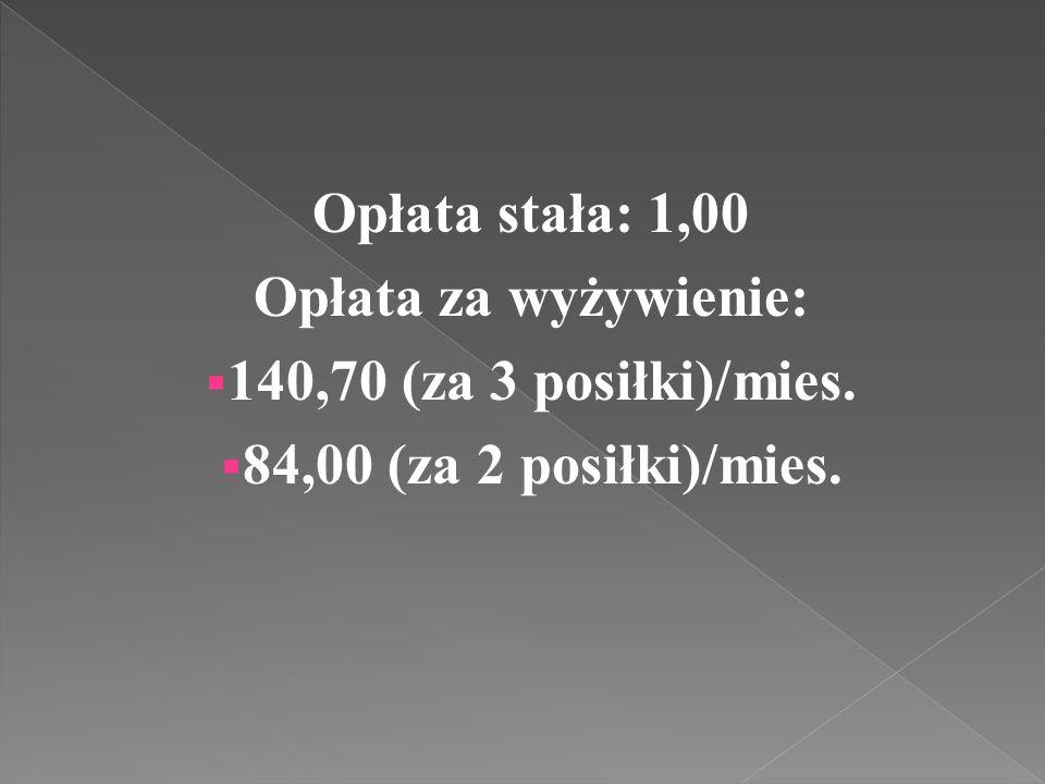 Opłata stała: 1,00 Opłata za wyżywienie:  140,70 (za 3 posiłki)/mies.  84,00 (za 2 posiłki)/mies.