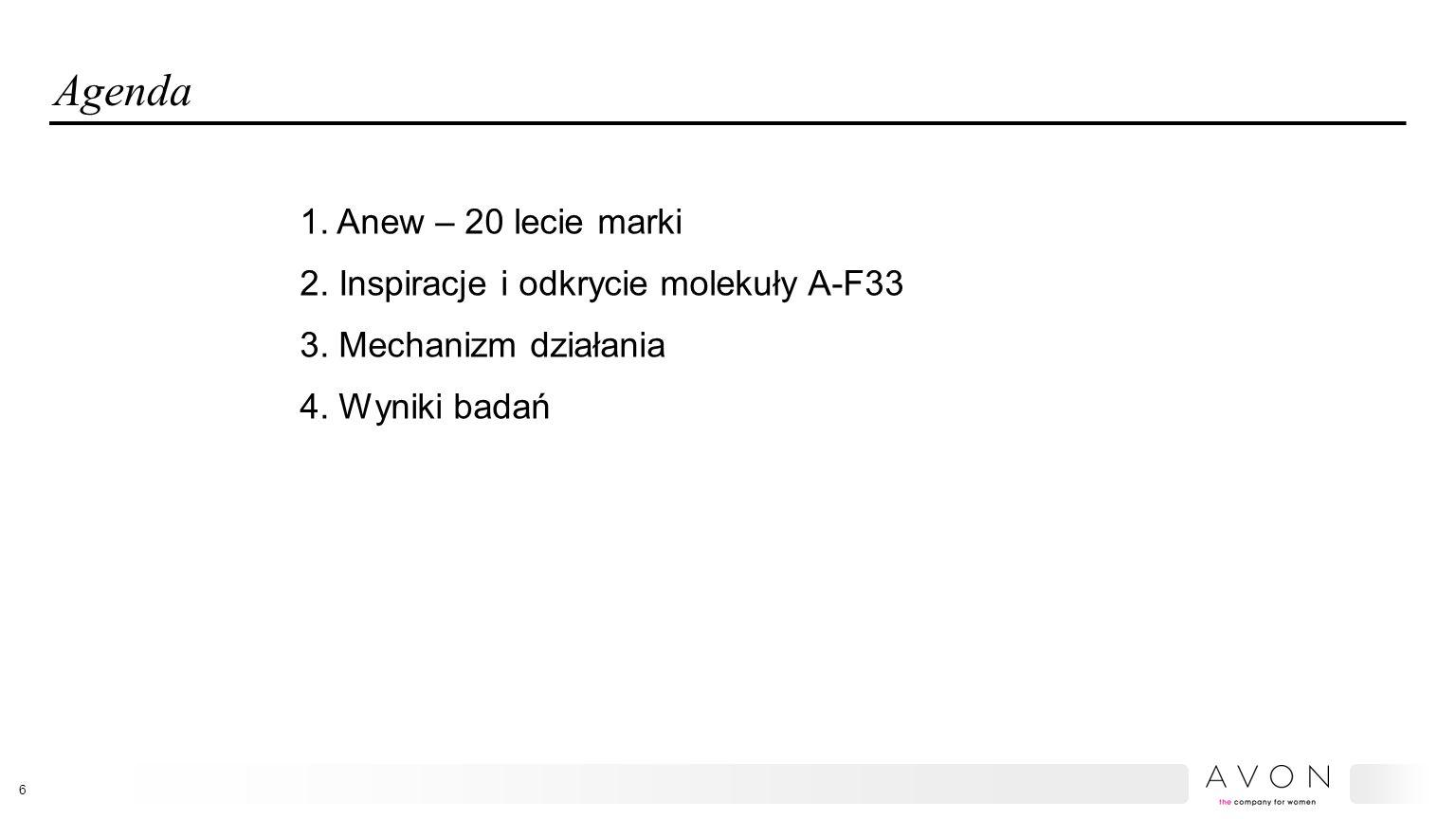 Agenda 1. Anew – 20 lecie marki 2. Inspiracje i odkrycie molekuły A-F33 3.