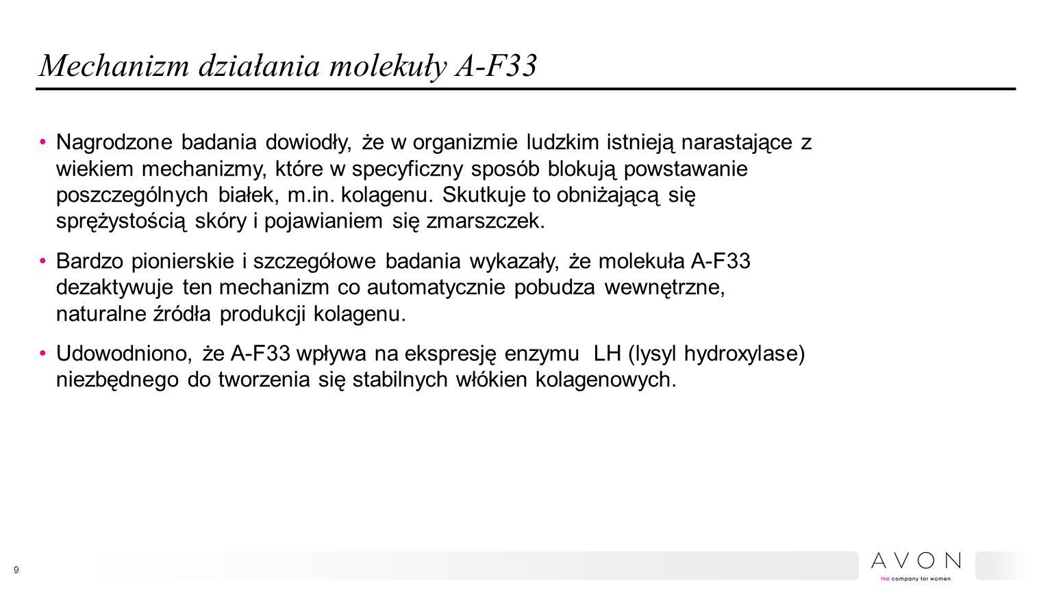 Mechanizm działania molekuły A-F33 Nagrodzone badania dowiodły, że w organizmie ludzkim istnieją narastające z wiekiem mechanizmy, które w specyficzny sposób blokują powstawanie poszczególnych białek, m.in.